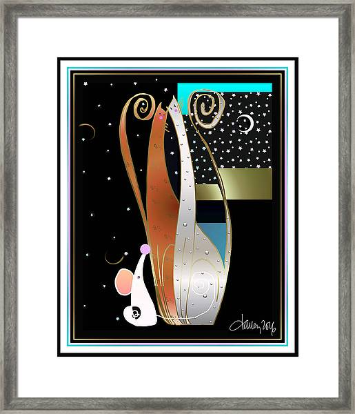 Framed Print featuring the digital art Purry Purry Night by Larry Talley