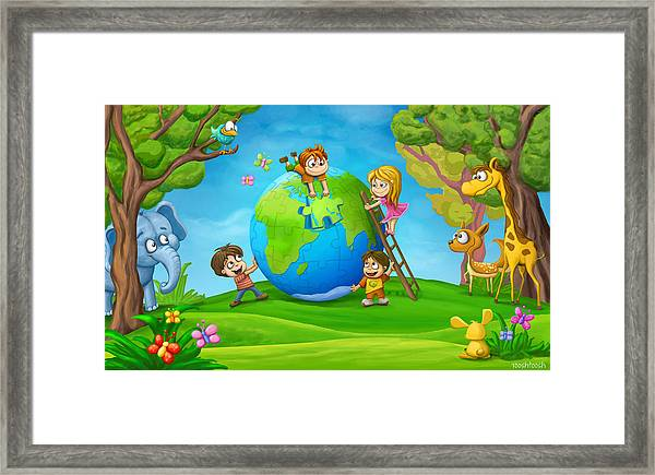 Puzzle World Framed Print