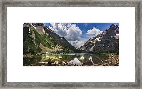 Pyramid Peak, Maroon Bells, And Crater Lake Panorama Framed Print