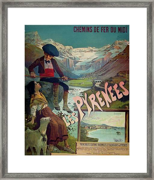 Pyrenees, France, Vintage Travel Poster Framed Print