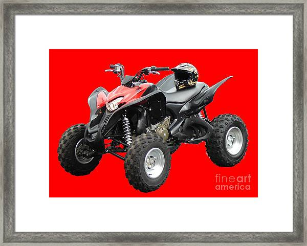 Quad Bike And Helmet Framed Print