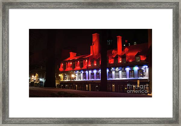 Quebec City At Night Bistro 1640 Framed Print