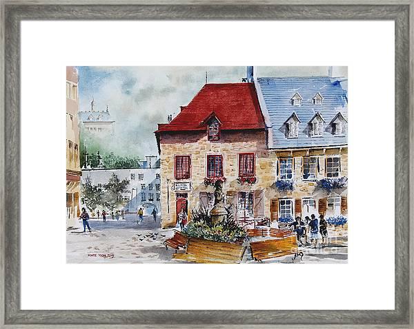 Quebec City Flower Boxes Framed Print