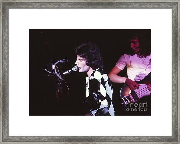 Queen 1975 Freddie Mercury Framed Print by Chris Walter