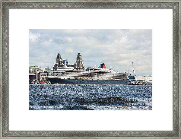 Queen Elizabeth Cruise Ship At Liverpool Framed Print