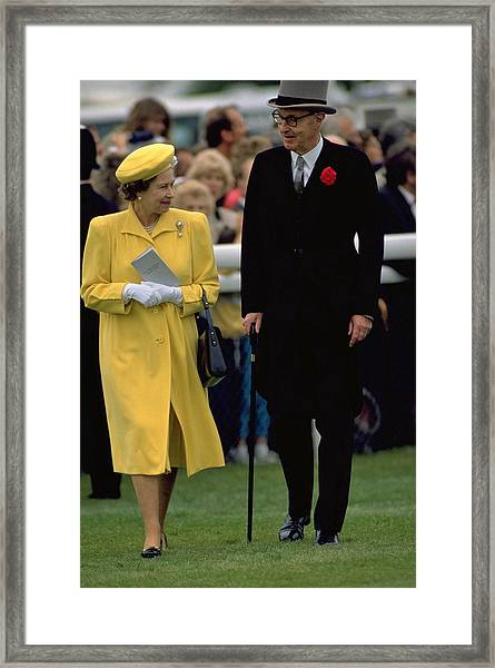 Queen Elizabeth Inspects The Horses Framed Print