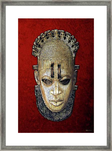 Queen Mother Idia - Ivory Hip Pendant Mask - Nigeria - Edo Peoples - Court Of Benin On Red Velvet Framed Print