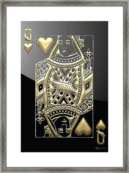 Queen Of Hearts In Gold On Black Framed Print