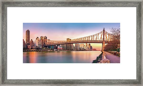 Queensboro Bridge At Sunset Framed Print