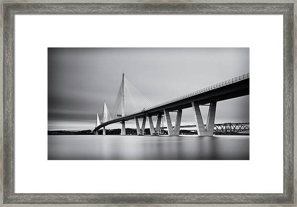 Queensferry Crossing Bridge Mono Framed Print