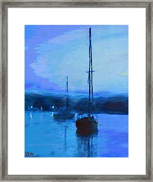 Framed Print featuring the painting Quiet Evening Maryland Chesapeake Bay Detail Multimedia Fine Art Painting by G Linsenmayer
