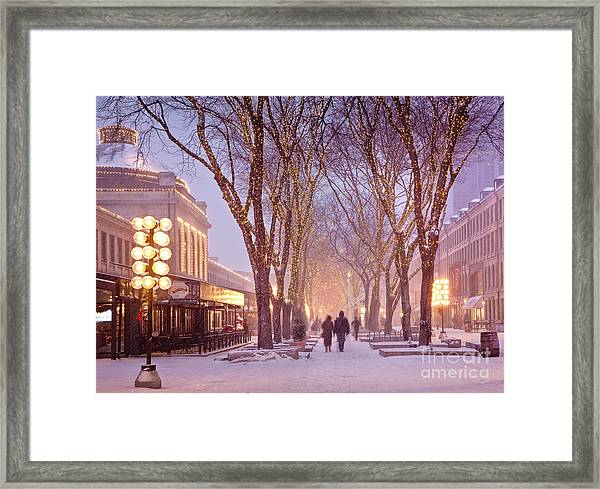 Framed Print featuring the photograph Quincy Market Stroll by Susan Cole Kelly