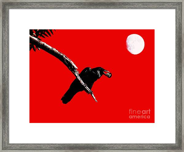 Framed Print featuring the photograph Quoth The Raven Nevermore . Red by Wingsdomain Art and Photography