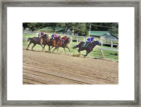 Race Horses In Motion Framed Print