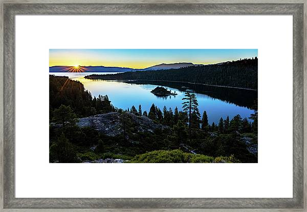Radiant Sunrise On Emerald Bay Framed Print