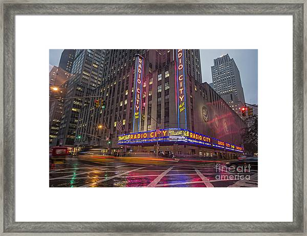 Framed Print featuring the photograph Radio City New York  by Juergen Held