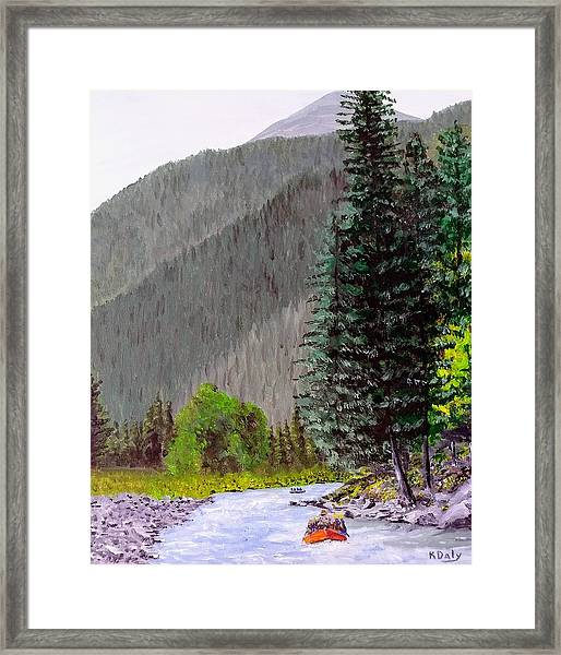 Framed Print featuring the painting Rafting The Gallatin by Kevin Daly