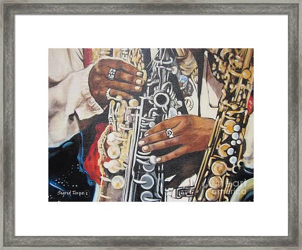 Blaa Kattproduksjoner.      Jazzed  Framed Print