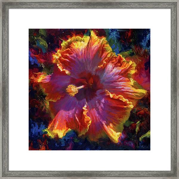 Rainbow Hibiscus Tropical Flower Wall Art Botanical Oil Painting Radiance  Framed Print