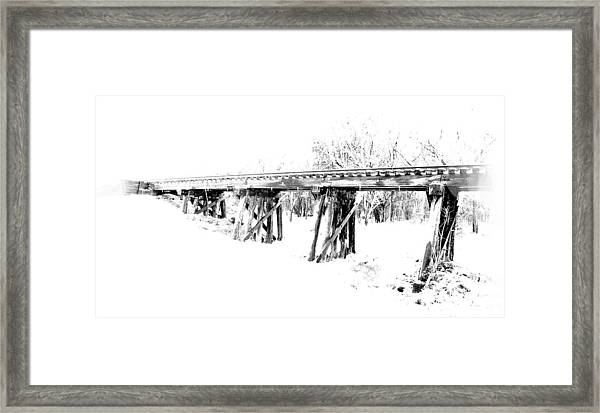 Rail Road Bridge In Winter 1 Framed Print