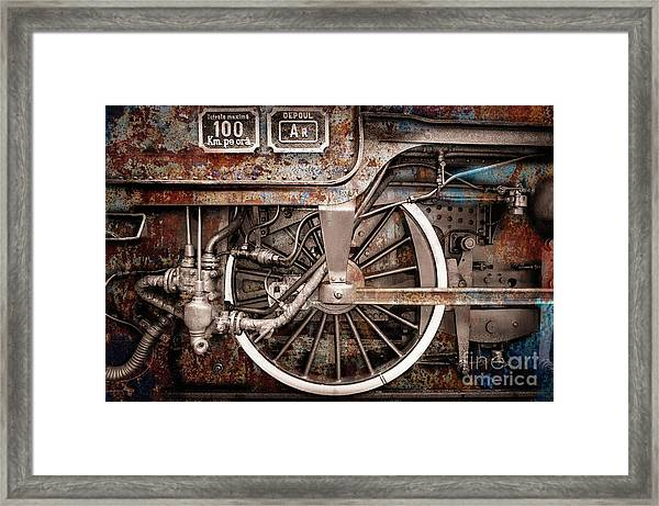 Rail Wheel Grunge Detail,  Steam Locomotive 06 Framed Print