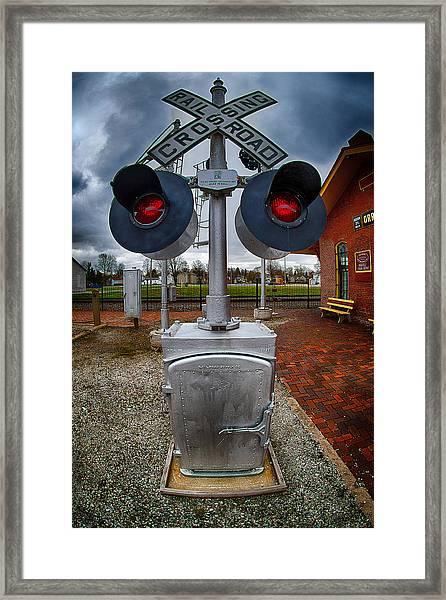 Railroad Crossing Signal Framed Print