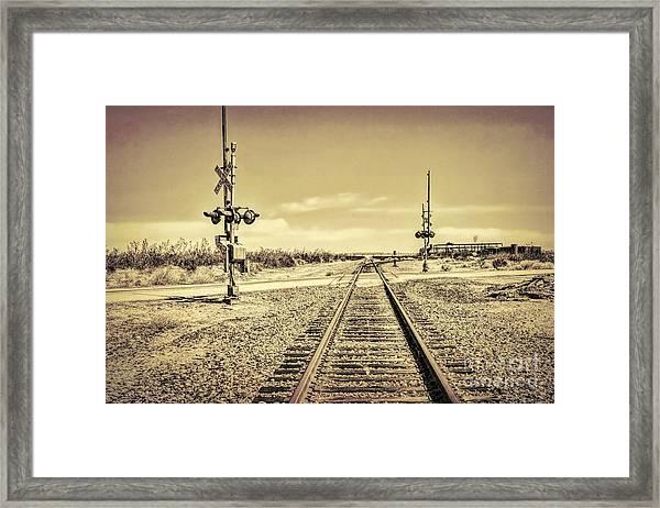 Railroad Crossing Textured Framed Print