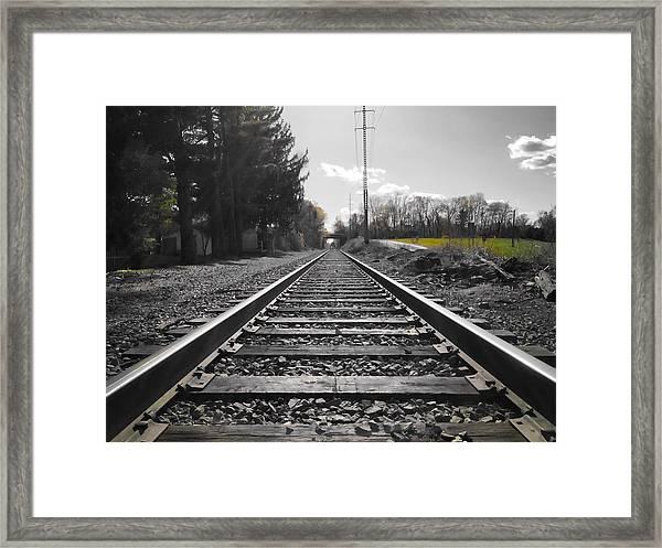 Railroad Tracks Bw Framed Print