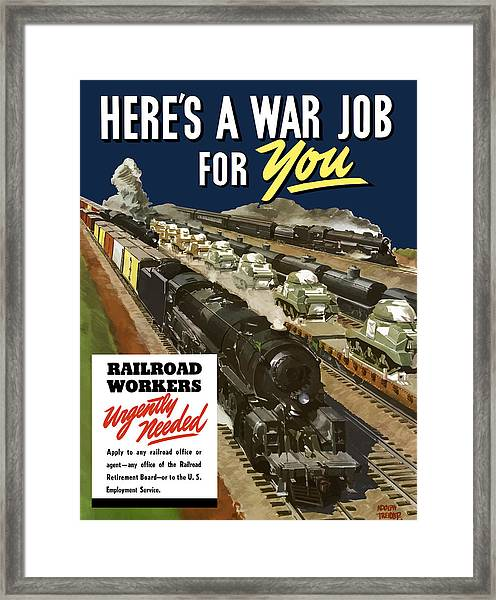 Railroad Workers Urgently Needed Framed Print