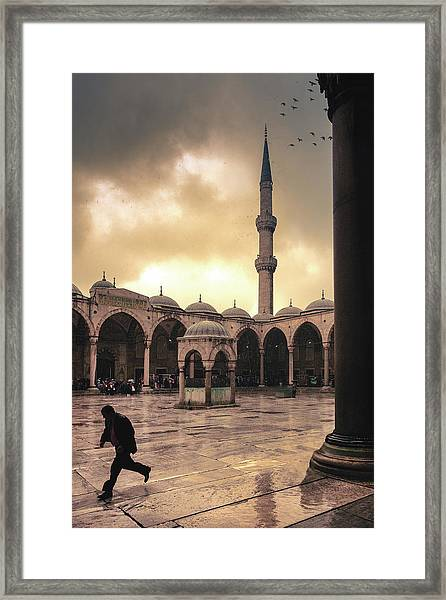 Rain At The Blue Mosque Framed Print