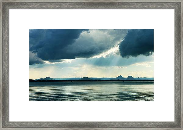 Rain On The Glass Mountains Framed Print