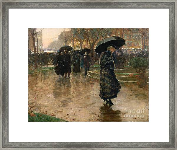 Rain Storm Union Square Framed Print