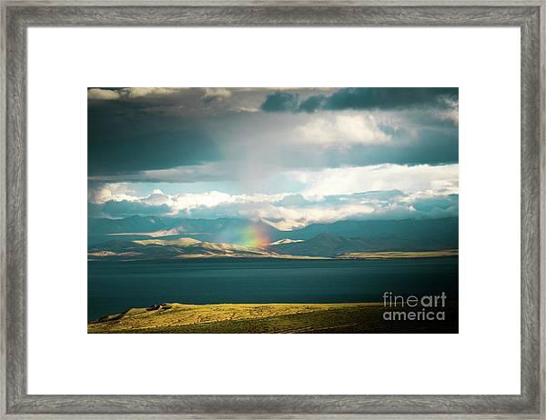 Rainbow Above Lake Manasarovar Kailash Yantra.lv Framed Print