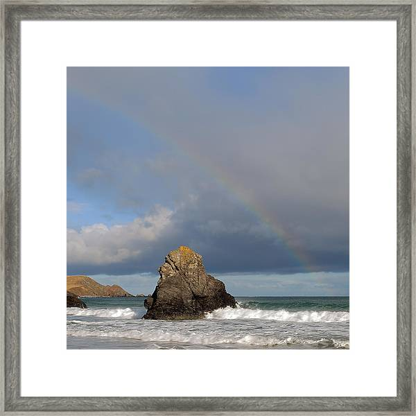 Rainbow Above Sango Bay Sea Stack Framed Print