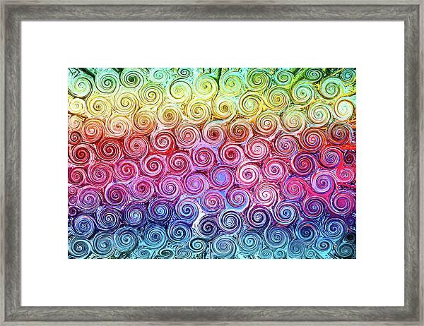 Rainbow Abstract Swirls Framed Print
