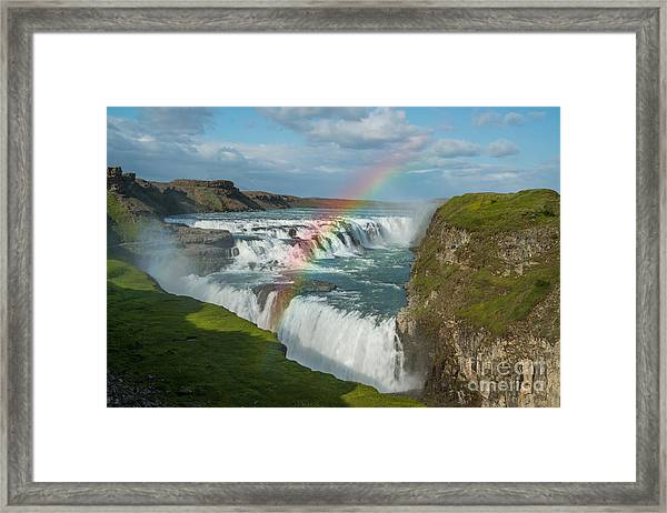 Rainbow At Gullfoss Iceland Framed Print