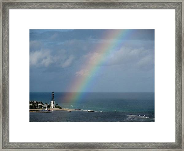 Rainbow At Hillsboro Lighthouse Framed Print