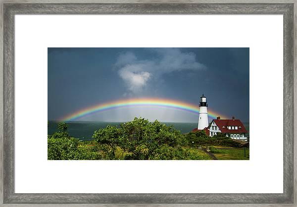 Rainbow At Portland Headlight Framed Print