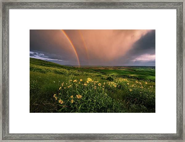 Rainbow At Steptoe Butte Framed Print