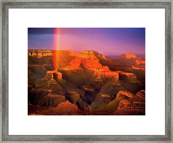 Rainbow At The Grand Canyon Framed Print
