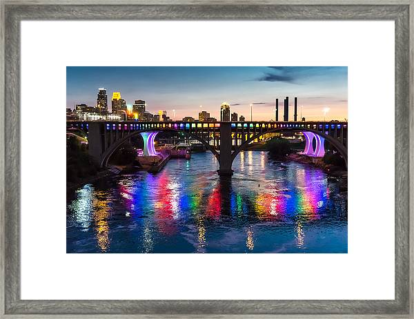 Rainbow Bridge In Minneapolis Framed Print