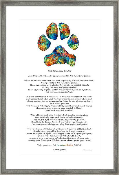 Rainbow Bridge Poem With Colorful Paw Print By Sharon Cummings Framed Print