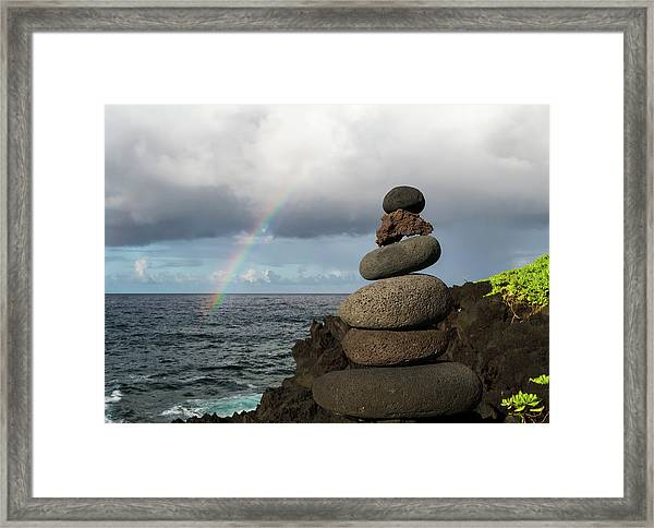 Framed Print featuring the photograph Rainbow Cairn by William Dickman