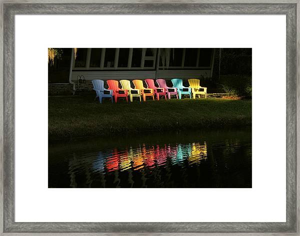 Rainbow Chairs  Framed Print