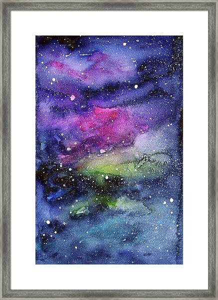 Rainbow Galaxy Watercolor Framed Print