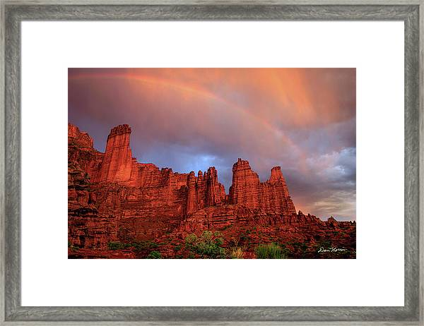 Rainbow In Virga Over Fisher Towers Framed Print