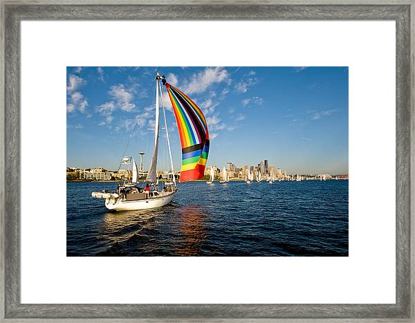 Rainbow On The Wind Framed Print by Tom Dowd