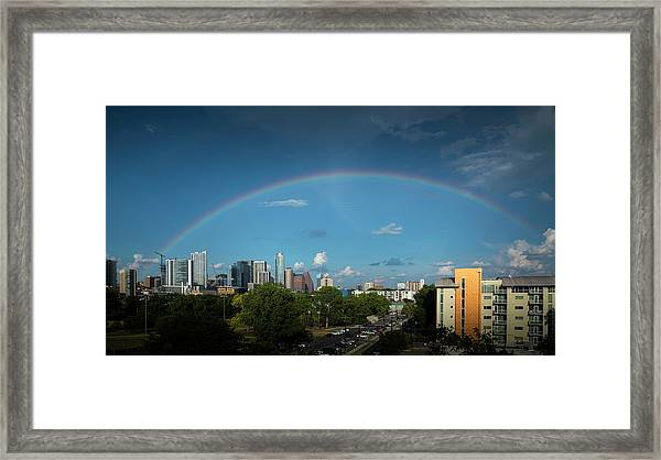 Rainbow Over Austin Framed Print
