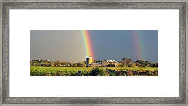 Rainbow Over Barn Silo Framed Print