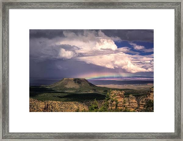 Framed Print featuring the photograph Rainbow Over Cedar Mountain by Claudia Abbott